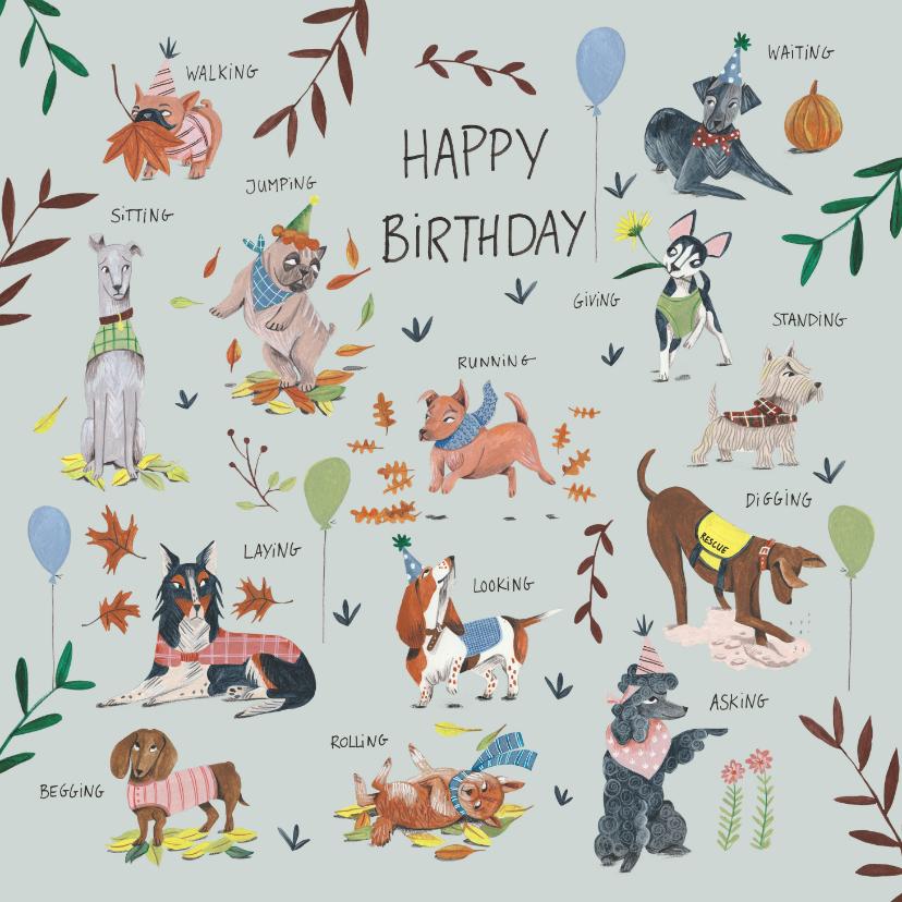 Verjaardagskaarten - Verjaardagskaart honden botanisch planten