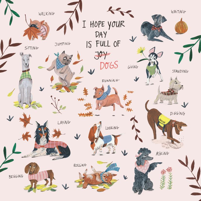 Verjaardagskaarten - Verjaardagskaart honden en botanische planten