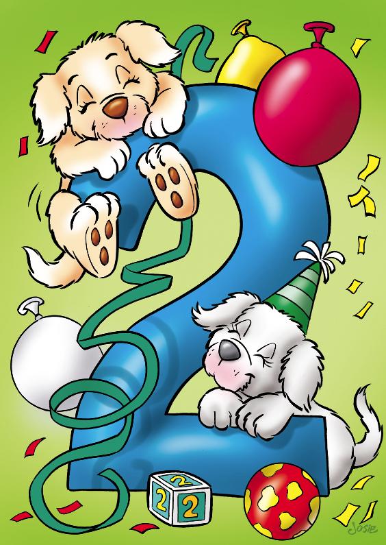 Verjaardagskaarten - Verjaardagskaart hondjes cijfer 2