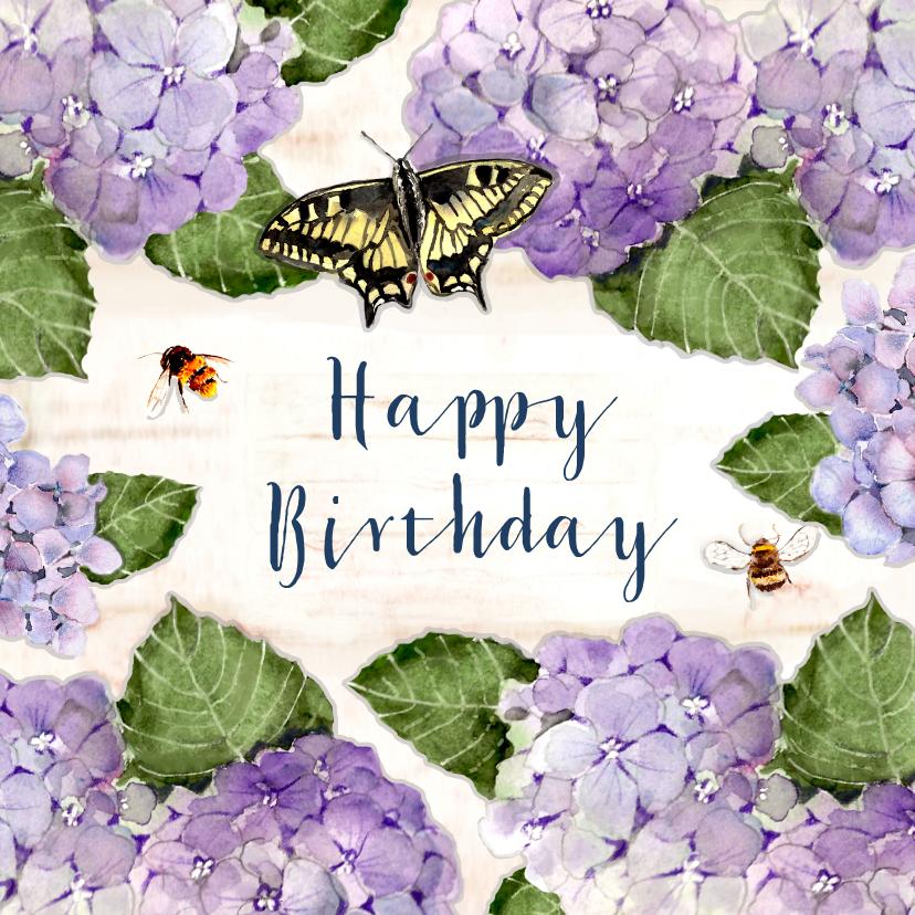 Verjaardagskaarten - Verjaardagskaart Hortensia's met houten bord