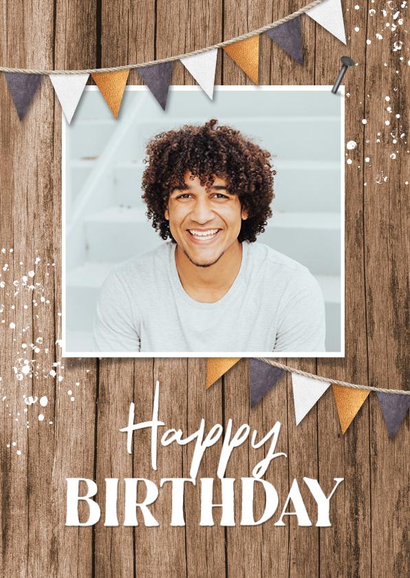 Verjaardagskaarten - Verjaardagskaart hout man industrieel slingers fotokaart