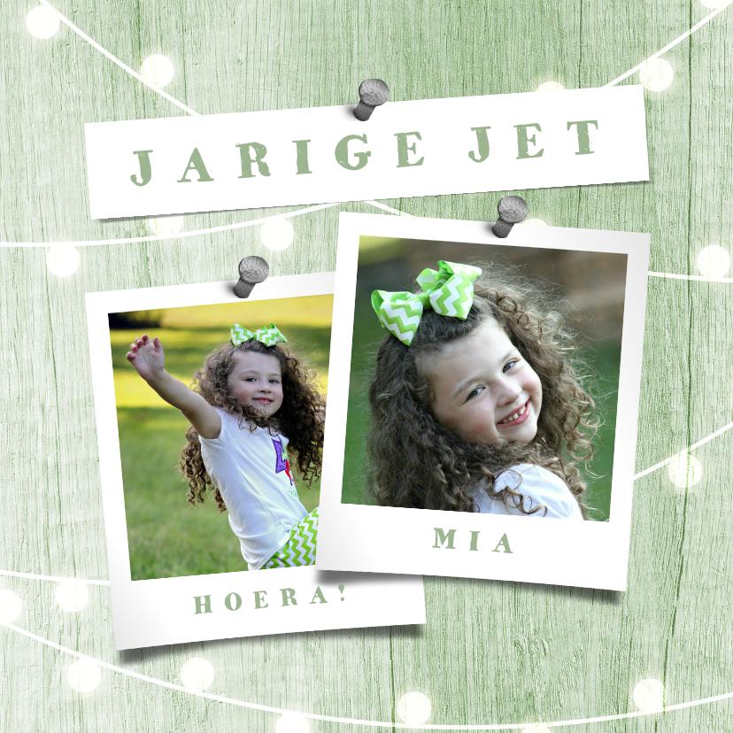 Verjaardagskaarten - Verjaardagskaart houtlook groen lampjes met foto