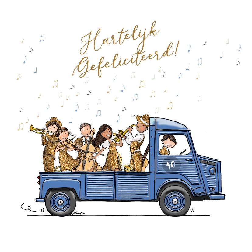 Verjaardagskaarten - Verjaardagskaart HY bus met orkest