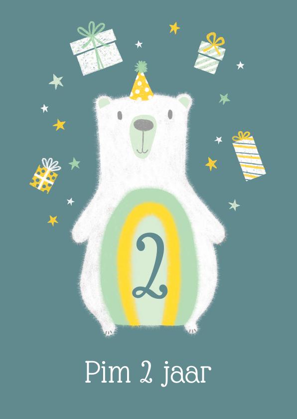 Verjaardagskaarten - Verjaardagskaart ijsbeer met kadootjes