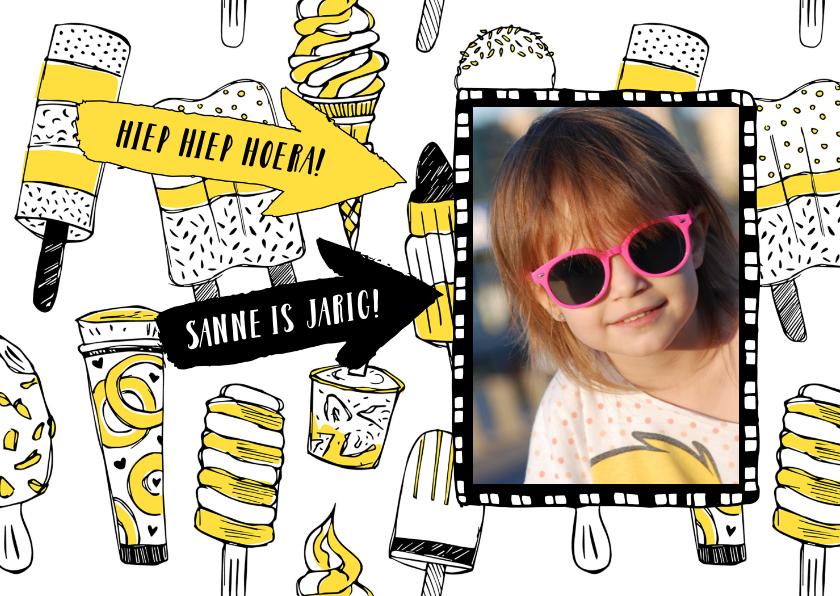 Verjaardagskaarten - Verjaardagskaart ijsjes met foto
