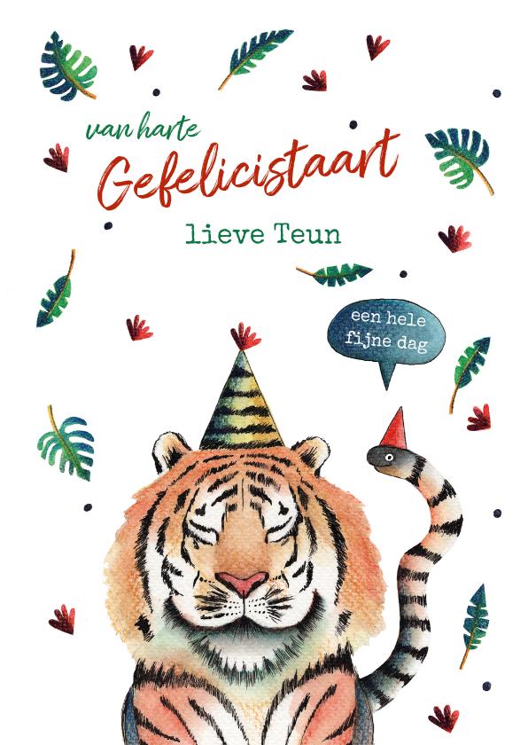 Verjaardagskaarten - Verjaardagskaart illustratie jungle tijger