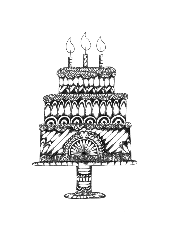 Verjaardagskaarten - Verjaardagskaart illustratie taart zwart wit