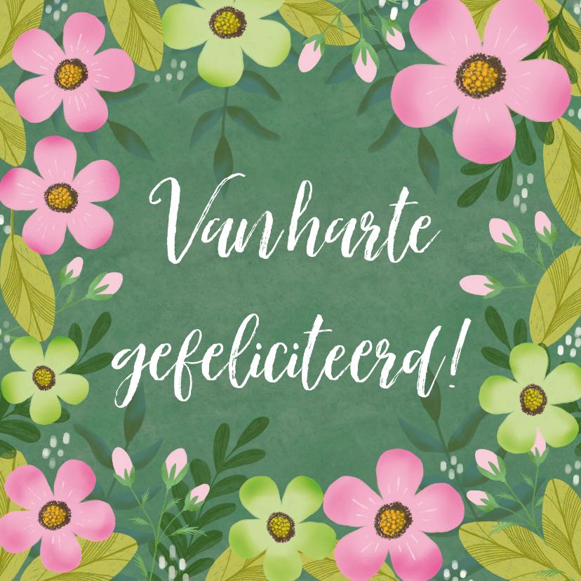 Verjaardagskaarten - Verjaardagskaart in groen en roze met mooie bloemen