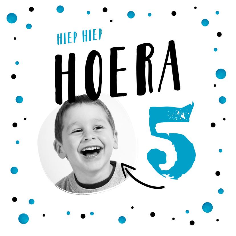 Verjaardagskaarten - verjaardagskaart jongen blauw confetti taart hip