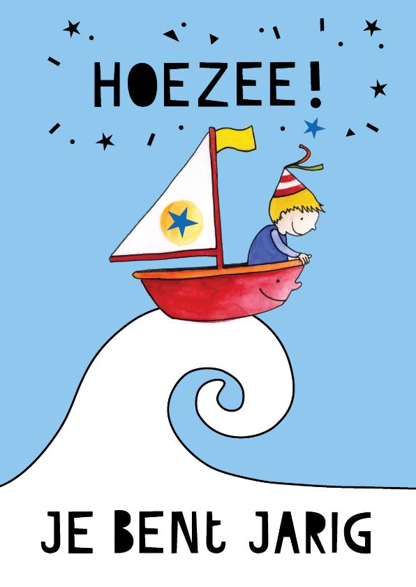 Verjaardagskaarten - Verjaardagskaart jongen in bootje op zee