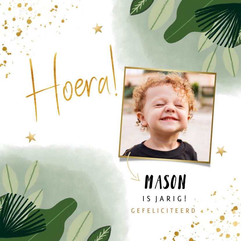 Verjaardagskaarten - Verjaardagskaart jongen jungle gouden sterren en foto