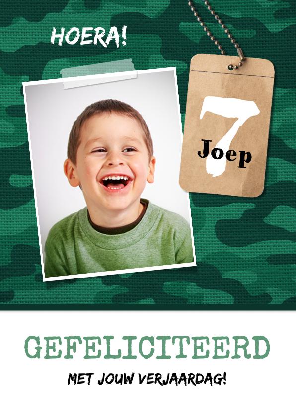 Verjaardagskaarten - Verjaardagskaart jongen leger survival jungle