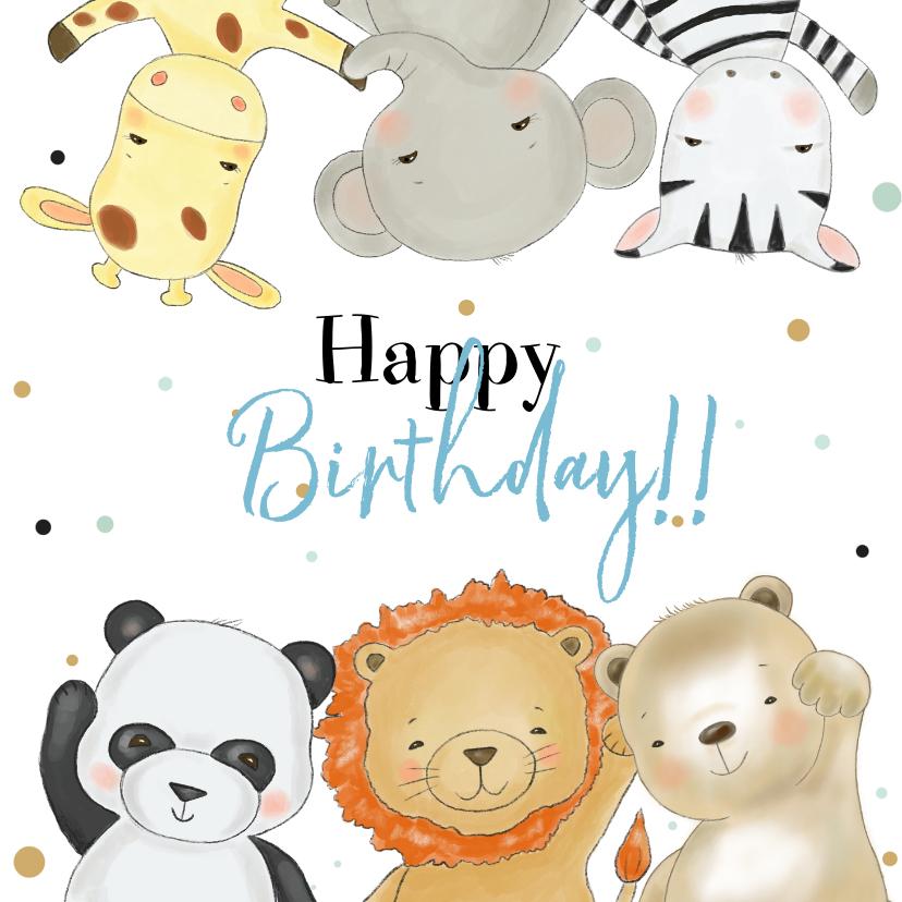 Verjaardagskaarten - Verjaardagskaart jongen safari dieren met confetti