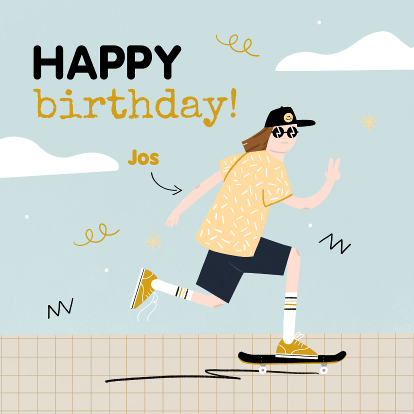 Verjaardagskaarten - Verjaardagskaart jongen tiener skating in blauw en oker
