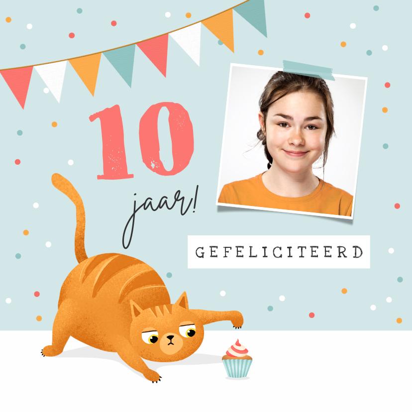 Verjaardagskaarten - Verjaardagskaart kat cupcake slinger confetti
