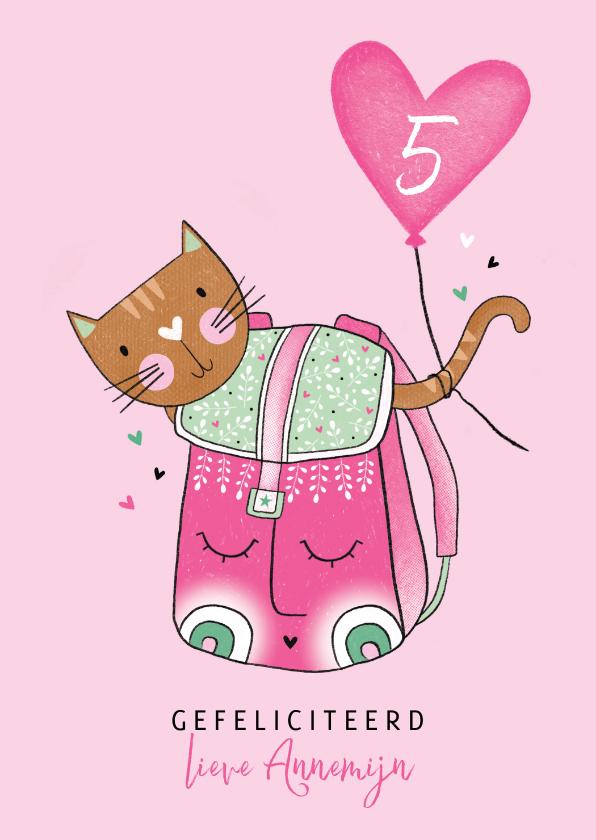 Verjaardagskaarten - Verjaardagskaart kat in rugzak