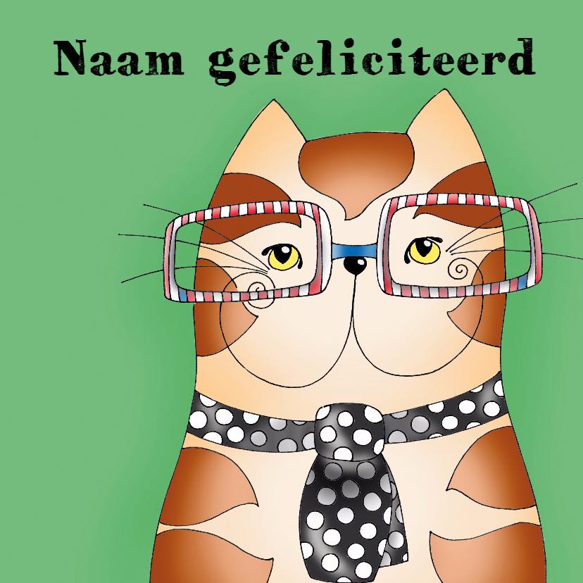 Verjaardagskaarten - Verjaardagskaart Kat met stropdas - SK