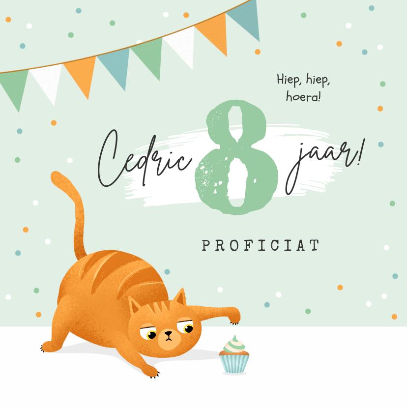 Verjaardagskaarten - Verjaardagskaart kat poes cupcake confetti slingers