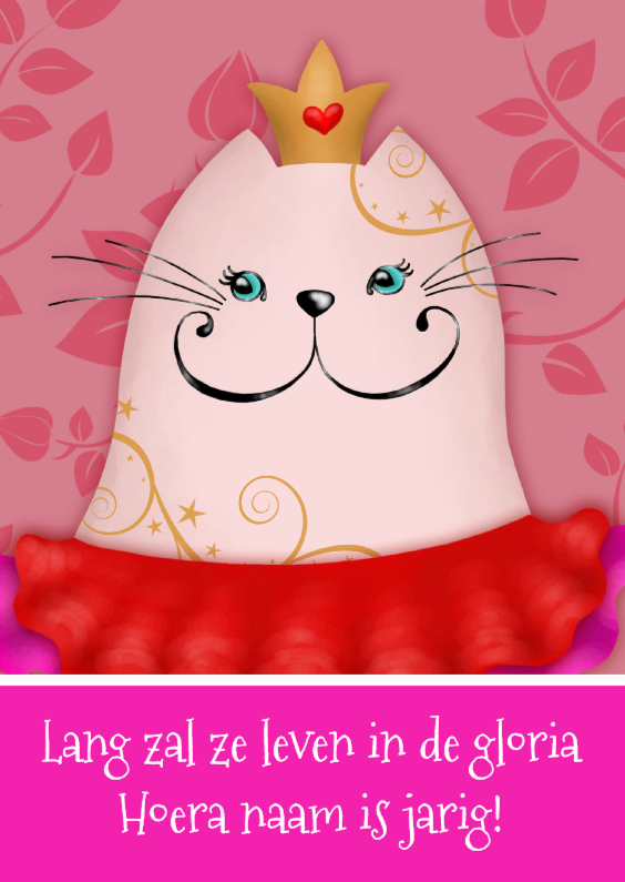 Verjaardagskaarten - Verjaardagskaart kat prinses