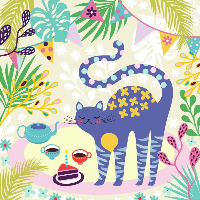 Verjaardagskaarten - Verjaardagskaart kat thee en taart