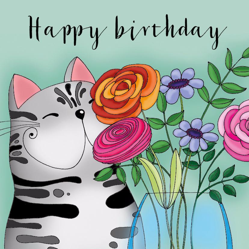 Verjaardagskaarten - Verjaardagskaart Kat vaas bloemen - SK