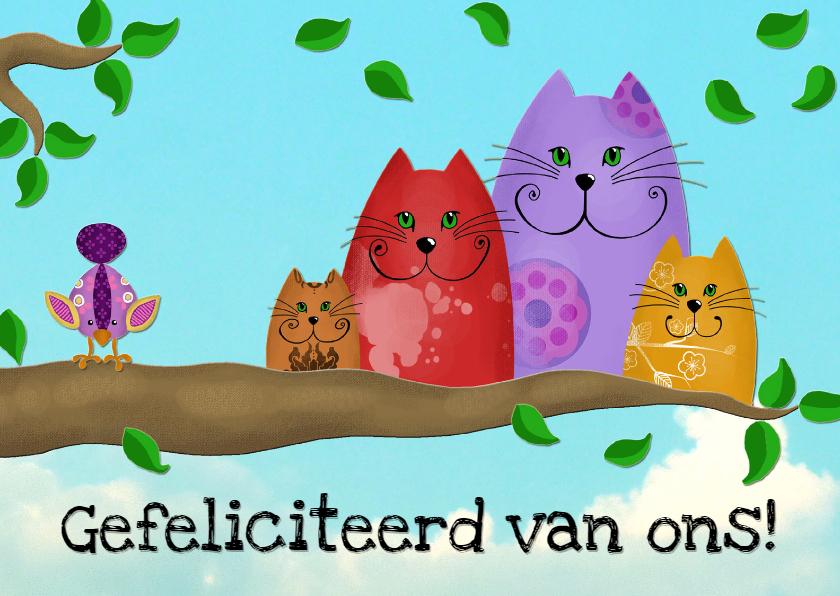 Verjaardagskaarten - Verjaardagskaart katten op tak