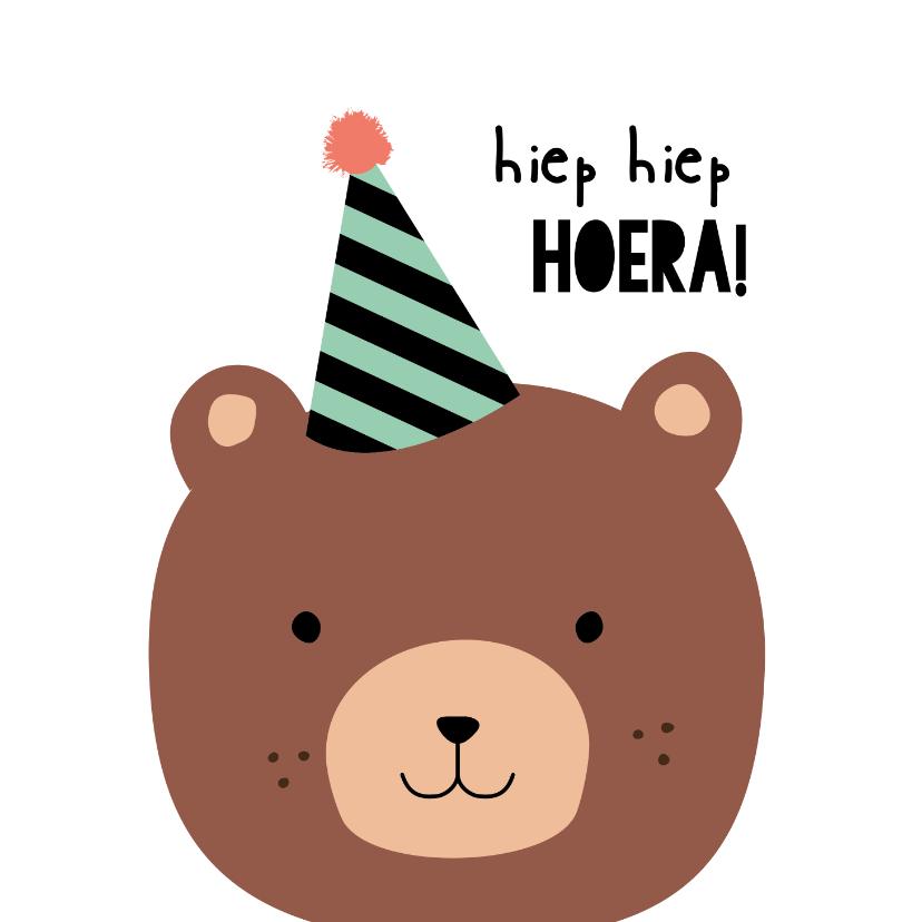 Verjaardagskaarten - Verjaardagskaart kind bere-gezellige dag Hiep hiep hoera