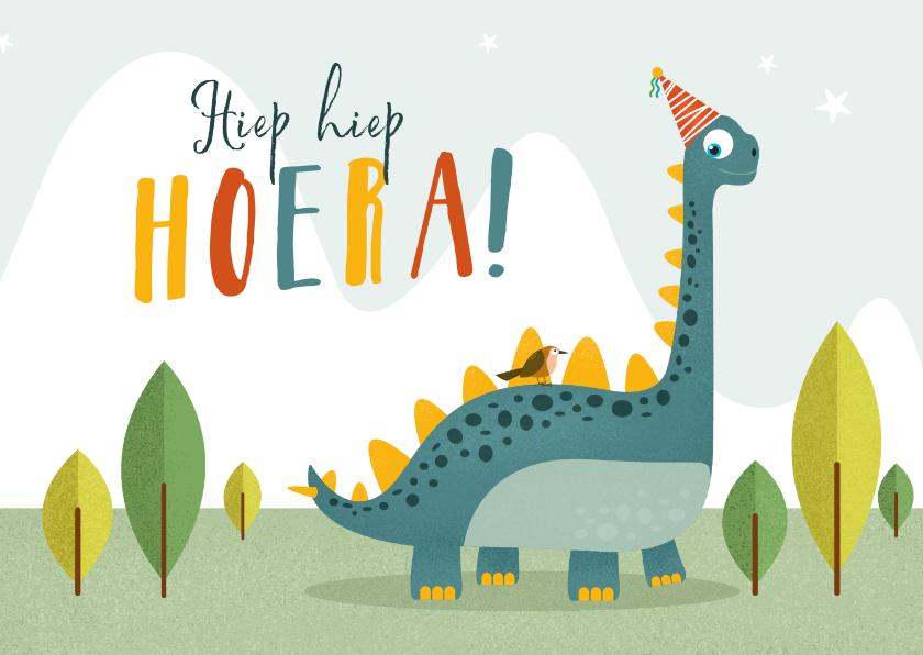 Verjaardagskaarten - Verjaardagskaart kind dino brontosaurus vogel feestje