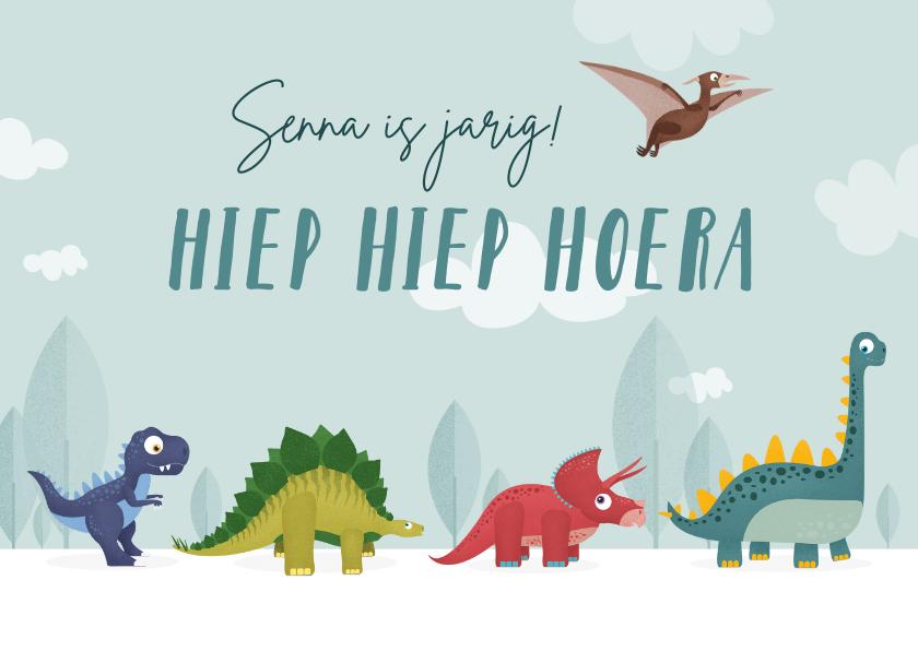 Verjaardagskaarten - Verjaardagskaart kind dinosaurussen dieren vrolijk feest