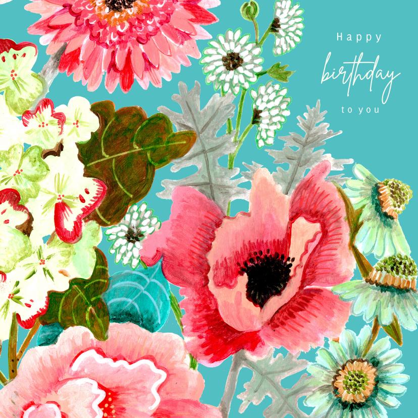 Verjaardagskaarten - Verjaardagskaart klaproos en veldboeket