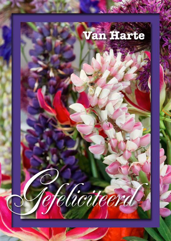 Verjaardagskaarten - Verjaardagskaart klassiek bloemen roze paars