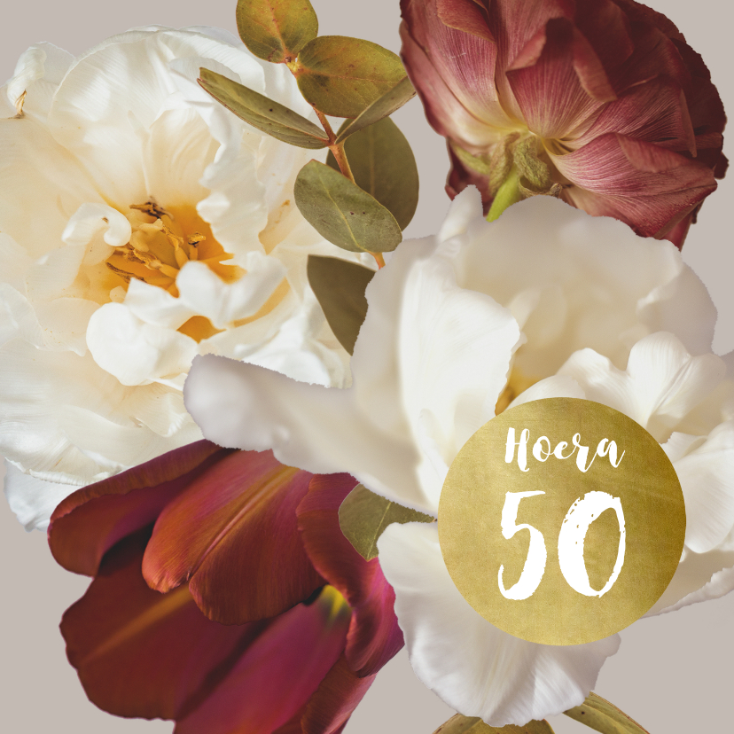 Verjaardagskaarten - Verjaardagskaart klassiek boeket beige leeftijd aanpasbaar