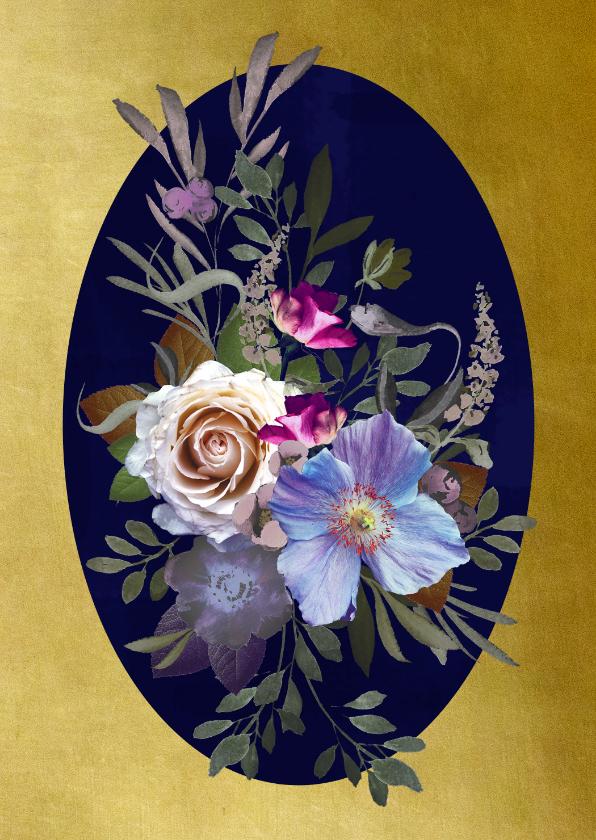 Verjaardagskaarten - Verjaardagskaart klassiek boeket blauwe bloemen met goud