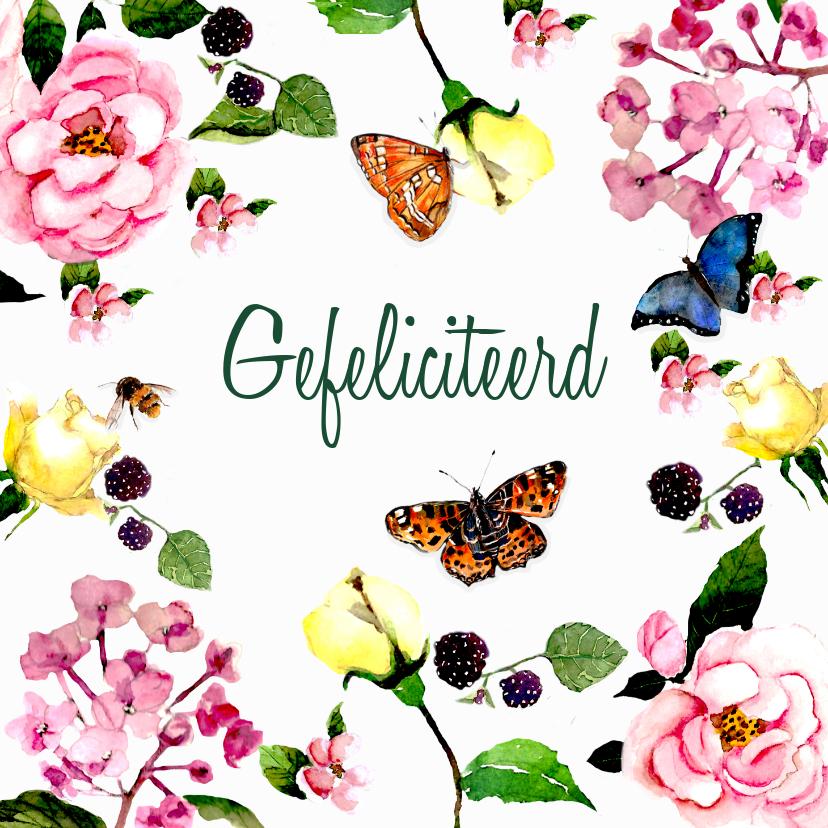 Verjaardagskaarten - Verjaardagskaart Kleurrijk gebloemd met vlinders