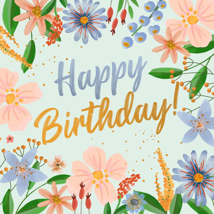 Verjaardagskaarten - Verjaardagskaart kleurrijke bloemen