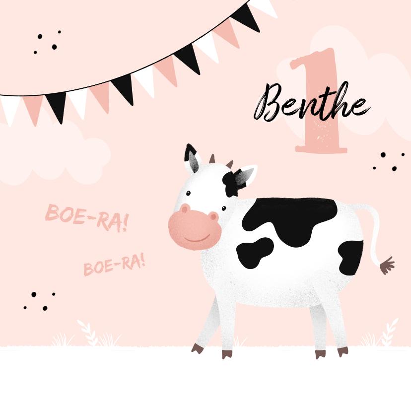 Verjaardagskaarten - Verjaardagskaart koe 1 jaar meisje lief roze