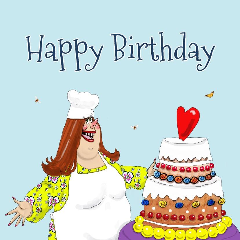 Verjaardagskaarten - Verjaardagskaart Kokkin met grote taart