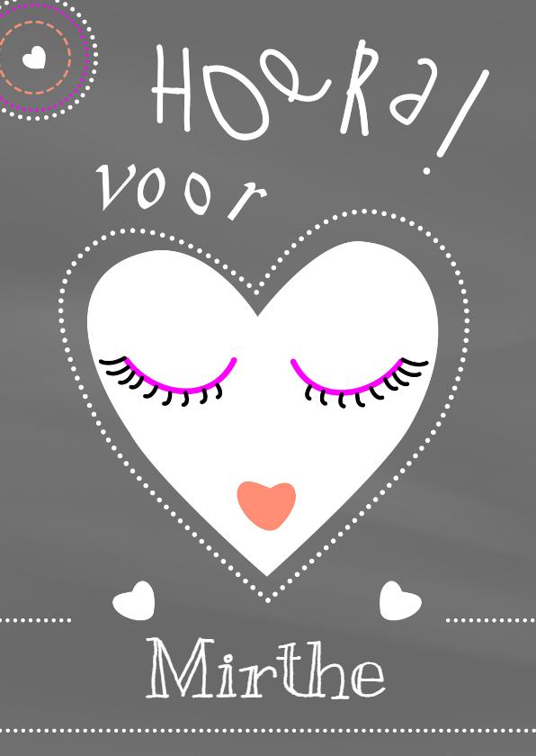 Verjaardagskaarten - Verjaardagskaart krijt hart - IF