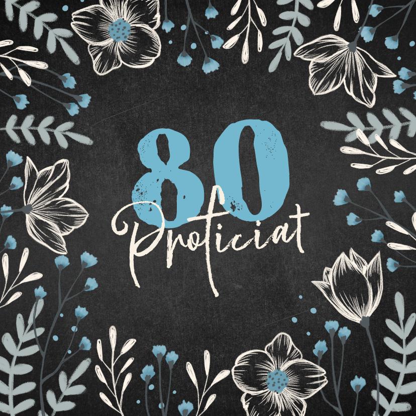 Verjaardagskaarten - Verjaardagskaart krijtbord bloemen blauw proficiat