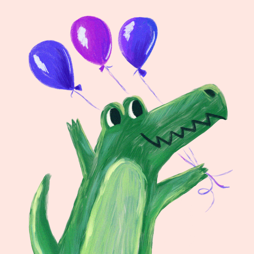 Verjaardagskaarten - Verjaardagskaart krokodil ballon