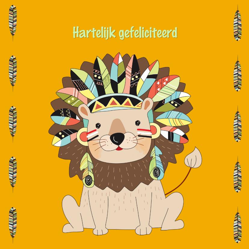 Verjaardagskaarten - Verjaardagskaart leeuw met indianentooi