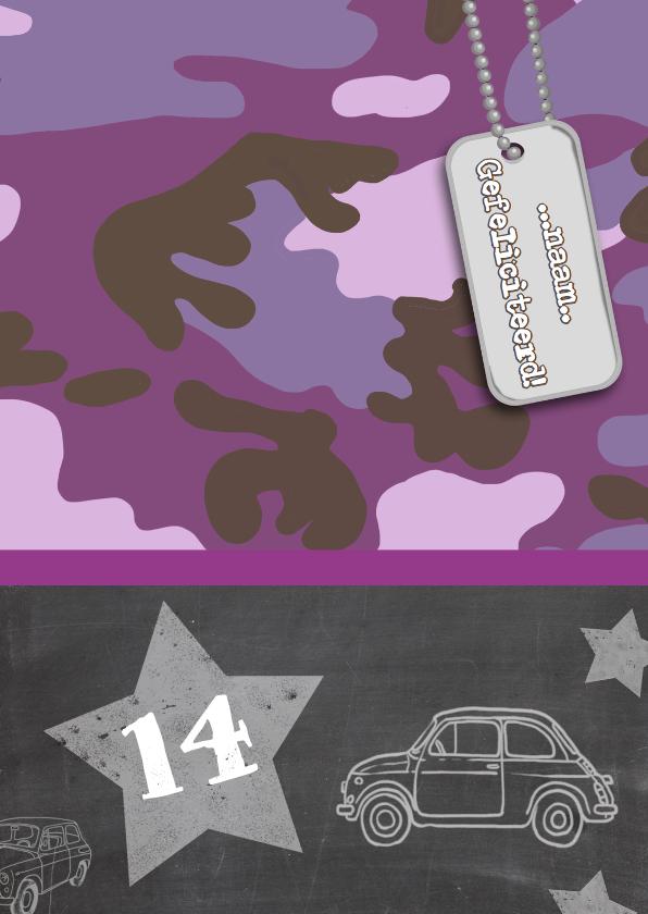 Verjaardagskaarten - Verjaardagskaart leger paars