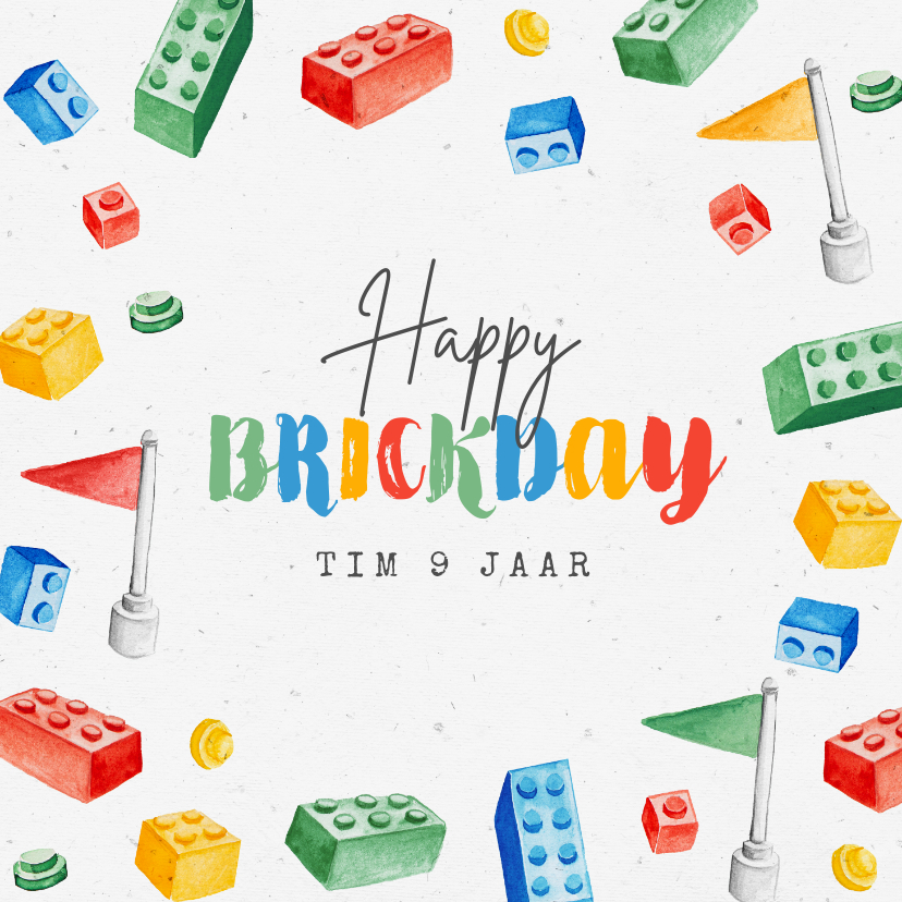 Verjaardagskaarten - Verjaardagskaart lego bricks klokjes gefeliciteerd