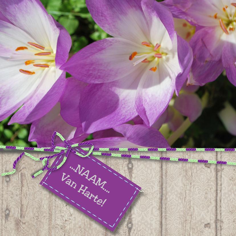 Verjaardagskaarten - Verjaardagskaart Lente paars