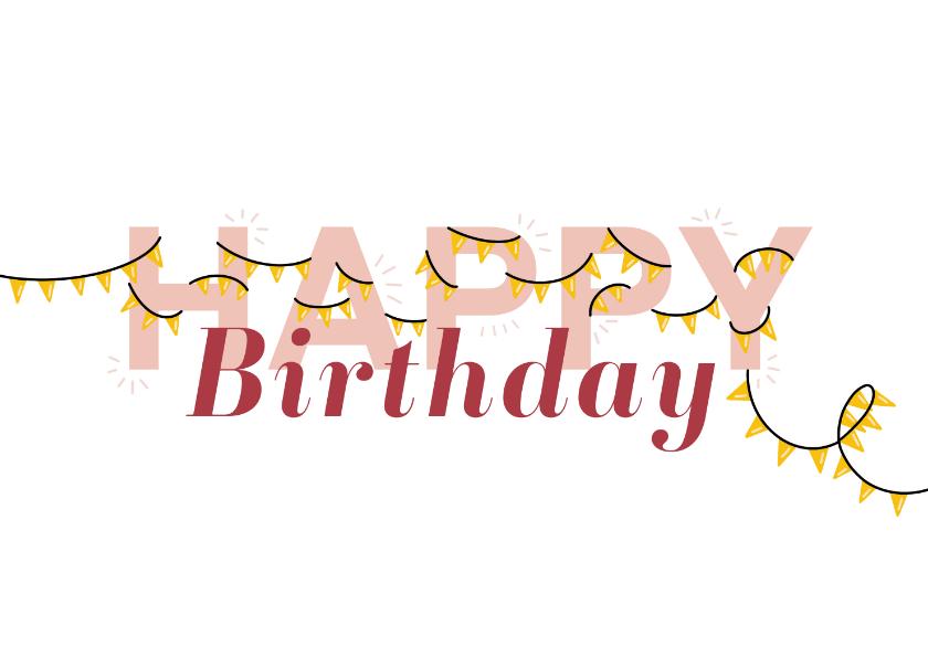 Verjaardagskaarten - Verjaardagskaart letters met slingers