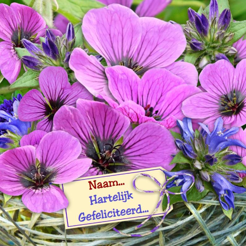 Verjaardagskaarten - Verjaardagskaart lila bloemen