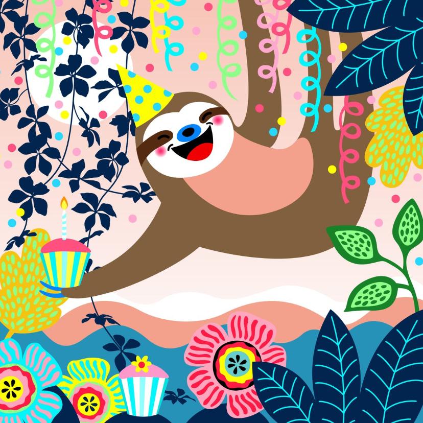 Verjaardagskaarten - Verjaardagskaart luiaard, slingers en bloemen