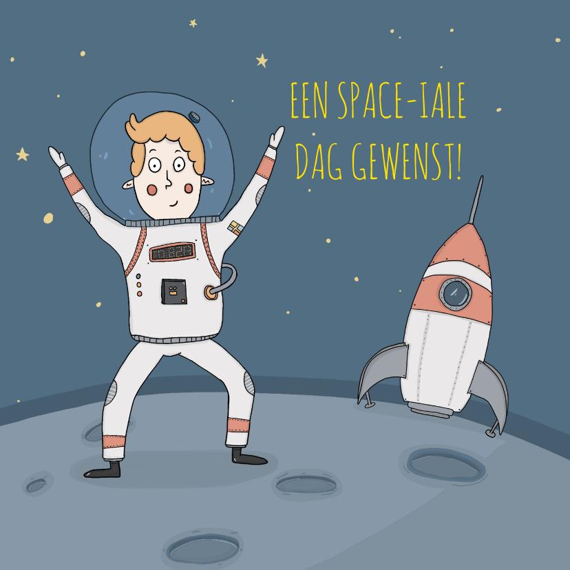 Verjaardagskaarten - Verjaardagskaart maar dan een hele Space-iale!