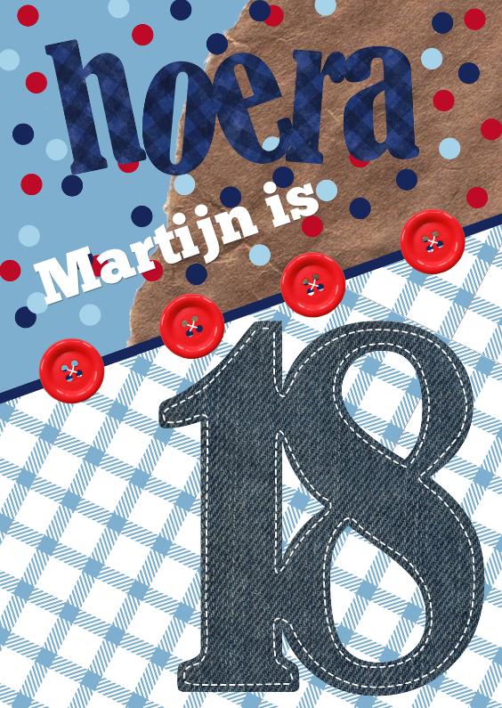 Verjaardagskaarten - Verjaardagskaart man 18 stoer confetti