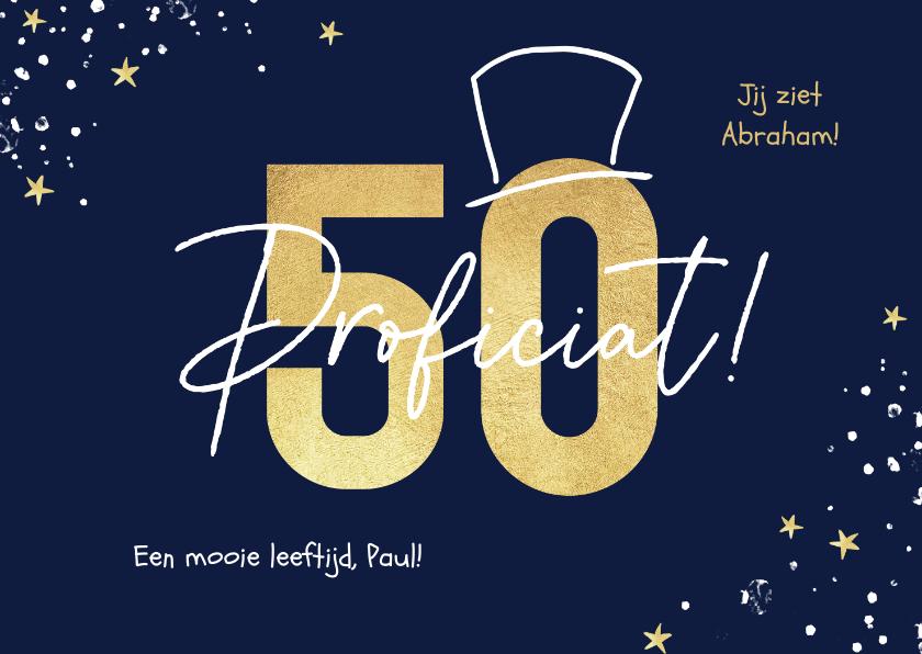 Verjaardagskaarten - Verjaardagskaart man 50 jaar abraham goud